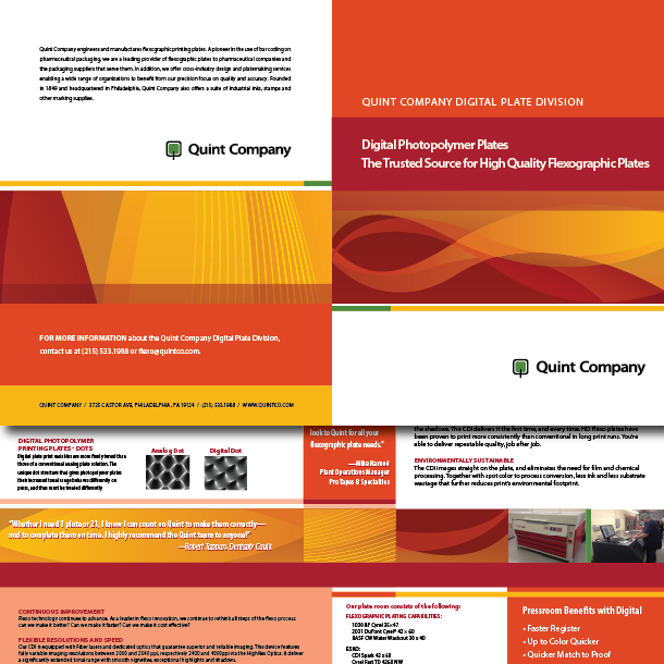 Quint Company Brochure, designed by KM Digital Design