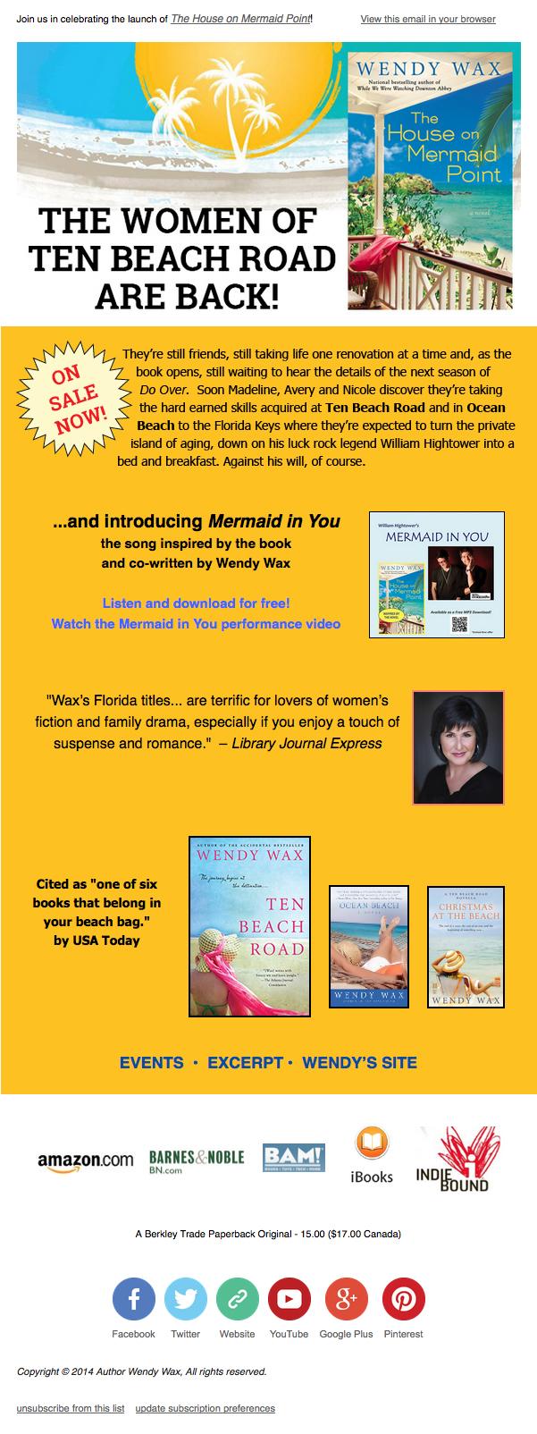 Wendy Wax Newsletter Sample 2